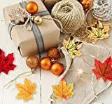 Sweelov 250 Stück künstliche Ahornblatt Herbstlaub Blätter Ahorn Laub Simulation Ahornblatt Für Halloween Erntedankfest Weihnachten Unterlage Wandbild, 5 Farben - 4
