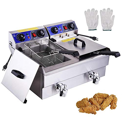 WeChef 23.4L Commercial Electric Deep Fryer Countertop Stainless Steel Basket with Timer and Drain French Fry
