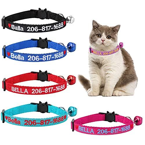 사용자 정의 분리 고양이 칼라 맞춤형 CAT-ID 칼라 수 놓은 애완 동물 이름 전화 벨소리