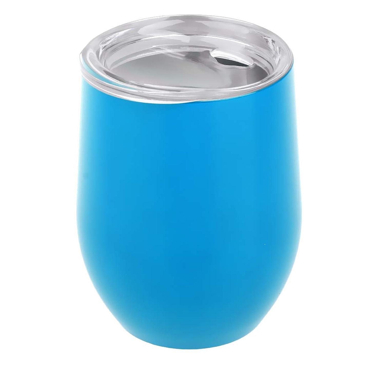 よろしく少なくとも権限二重 断熱 タンブラーカップ ワインカップ キャンプ用 全13色 - 水色