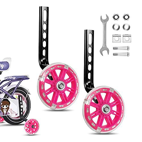 JEEZAO Ruedines Bicicleta Infantil, Bicicleta Estabilizador Ruedas,Niños Entrenamiento Ruedines Accesorio de Bicicleta Universal (Destello Rosa)