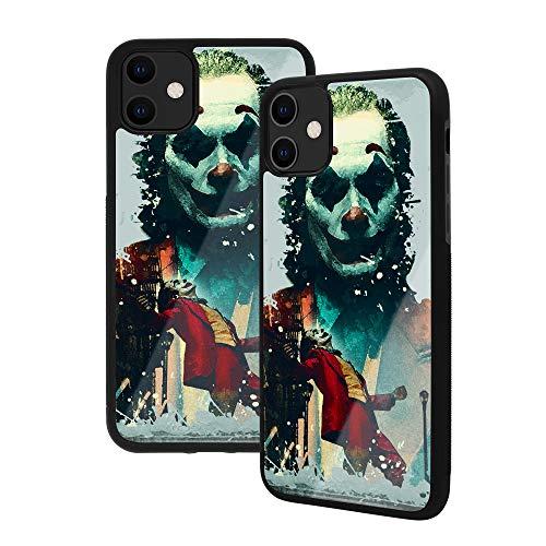 Anime Art - Custodia per iPhone 11, film popolari, in vetro temperato di alta qualità, con struttura in gomma morbida con impugnatura (iPhone 11, Joker)