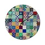 Reloj de Pared Digital Redondo,Patrón de símbolos y monumentos de Londr,Decoración casera rústica silenciosa Que no Hace tictac con Pilas de Madera para la Sala de Estar de 12 Pulgadas