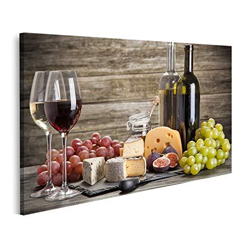 Cuadro en lienzo Bodegón de vino y queso Cuadros Modernos Decoracion Impresión...