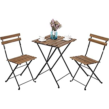 Leisure Zone Outdoor Folding Bistro Set 3 Piece Patio Table and Chairs Set, Metal and Solid Wood (Brown)