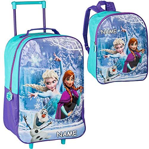alles-meine.de GmbH 2 TLG. Set: Kinder Trolley + Rucksack - Disney die Eiskönigin - Frozen - inkl. Name - wasserabweisend & beschichtet - für Mädchen & Jungen - Trolly mit Rollen..