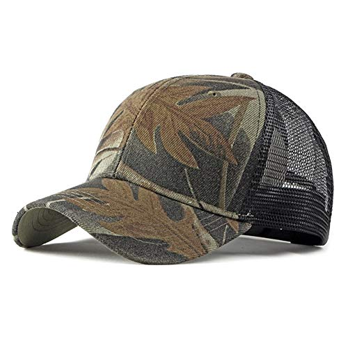 QZXQW Unisex Baseball Cap Breathable Camouflage Mesh Cap Asjustable Snapback Sport Hip Hop Sun Hats Sports Leisure Outdoor Simple Baseball Cap Men Casual Caps Women (Color : Brown)