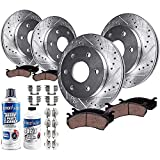 Detroit Axle - Front and Rear Drilled Rotors Ceramic Brake Pads for 07-13 Chevy GMC Silverado Sierra 1500 Avalanche Tahoe Yukon Escalade - 10pc Set