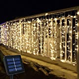 Solar Curtain Lights Outdoor,13ft(L) x 3.3ft(H),8 Mode,200 LED,Solar String Lights for Pool Glass Fence Handrail Railing Eaves Wall Pavilion Wedding Arch Decoration-Waterproof,Dark Green -Warm White