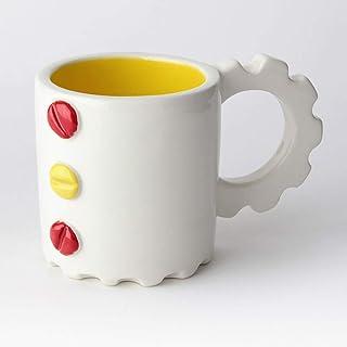 Taza de Cerámica hecha y pintada a mano, Disponible en varios colores, diseño mecánico – 200 ml (Amarillo, Rojo)