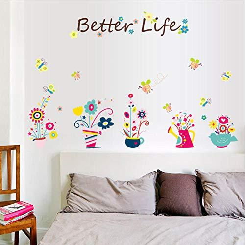 Xxscz Mooie Potted Bloemen Bijen Muurstickers Kast Hallway Muurstickers DIY Home Decoratie Groene Planters Wandposter Mural
