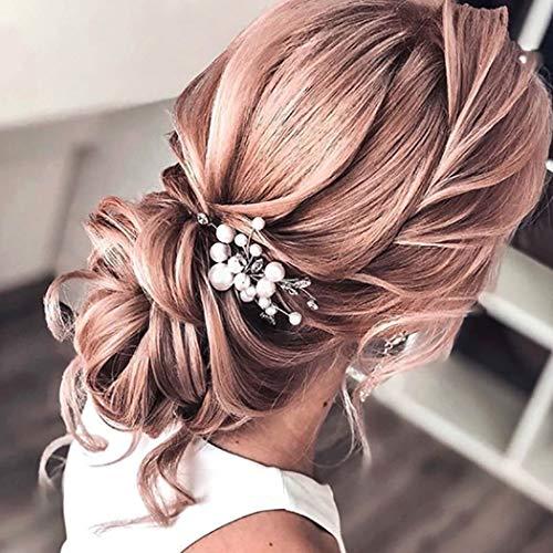 Unicra Braut Hochzeit Haarkamm Silber Kristall Kopfschmuck Einfache Perle Haarschmuck für Frauen und Mädchen