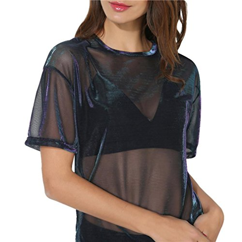 TUDUZ Damen Sommer Kurzarm Bluse Transparent Tüll Mesh Shirt Body T-Shirt Tunika Tops Schwarz (Schwarz-B, L)
