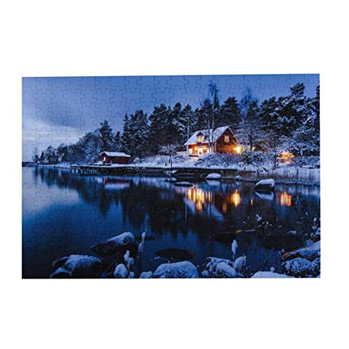 Jigsaw Puzzles Country Cottages A Suburb Of Stockholm Winter Landscape Sweden Jigsaw Puzzle For Womens 300 Pieces Fun Puzzle Wooden Puzzles 14.96 X 10.23 Inch