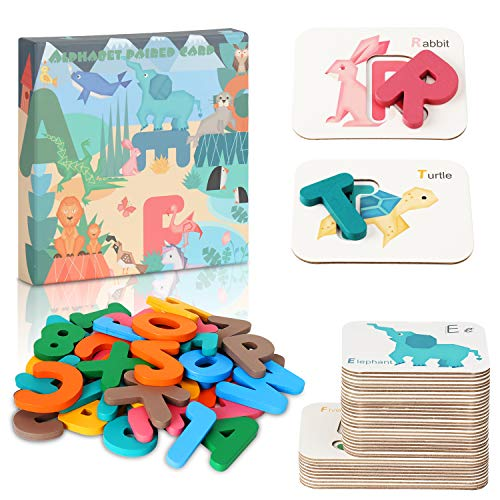 DmbsmOB Alphabet and Number Flash Cards- Preschool Educational Montessori Toys, ABC Wooden Lettersand Numbers Animal Card Board Matching Puzzle Game , Girls Boys Age 3-8Years Old