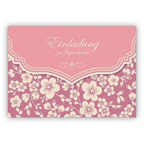 Prachtige vintage uitnodigingskaart met retro kersenbloesempatroon in roze voor meisjes: uitnodiging voor het feestje • hoogwaardige 1a wenskaart met envelop voor lieve groetjes