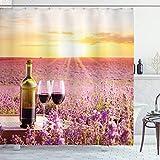 ABAKUHAUS Wein Duschvorhang, Blühendes Lavendel-Picknick, mit 12 Ringe Set Wasserdicht Stielvoll Modern Farbfest & Schimmel Resistent, 175x200 cm, Gelb Grün Lavendel