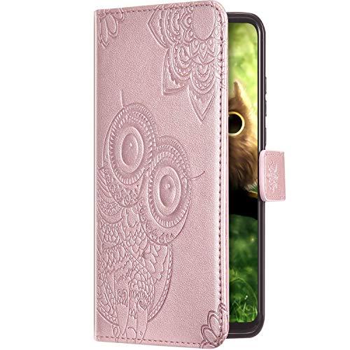 Uposao Kompatibel mit iPhone 11 Pro Hülle Leder Handyhülle Flip Schutzhülle Brieftasche Klapphülle Vintage Mandala Blumen Eule Muster Bookstyle Tasche Case Magnet Kartenfach,Rose Gold