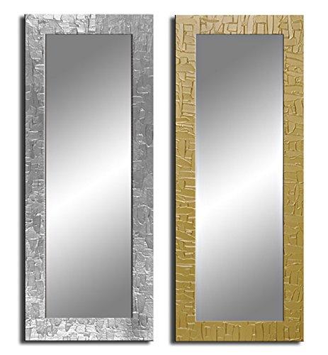 Bilderdepot24 - Zeitloser Wandspiegel mit handgearbeitetem Dekorrahmen - Spiegel Kacheln - ca. 135x45 cm - Silber