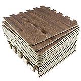 Amazon Brand - Umi -1 'x 1' (30 cm x 30 cm) Alfombrillas de Madera entrelazadas con Grano de Madera de (18 piezas-18 pies cuadrados) (Oscuro)