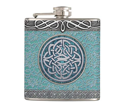 Flask for Liquor and Funnel,7 Oz Leak Proof Stainless Steel Pocket Hip Flask Antique Lace And Silver Decor Celtic Knot,Great Gift Idea Flask