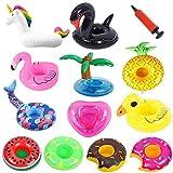 ASYBHYY 12 Pcs Posavasos Hinchable de Flotador Unicornio & Flamingo con Bomba Colchonetas y Flotante Juguetes de Piscina Ocio Agua Diversión Juguetes Niños Adultos