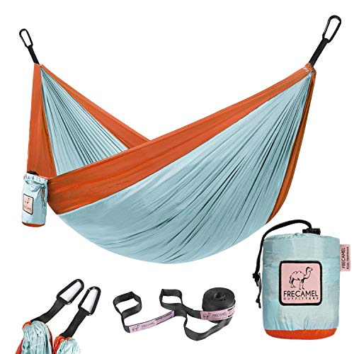 Kids Hammock for Camping or Hiking - Portable Parachute Nylon Hammock - Best Choice for The Family time, Cloud Blue & Tangerine