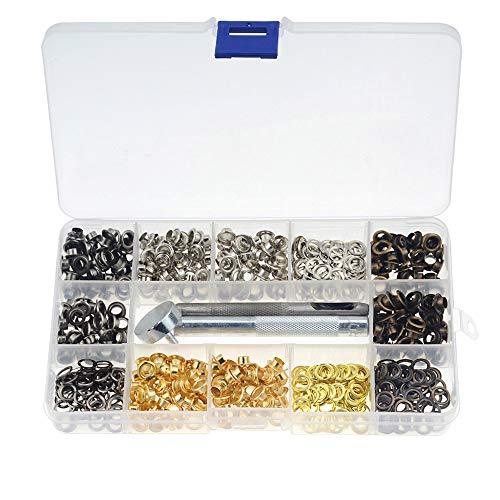 Bestgle Kit de Ojetes de 5mm,Kit De Ojal Metálico De 400 Piezas Con Herramienta De Montaje y Caja De Almacenamiento para Bolsa, Proyecto DIY(4 Colores)