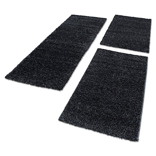Unbekannt Shaggy Hochflor Teppich Carpet 3TLG Bettumrandung Läufer Set Schlafzimmer Flur, Farbe:Anthrazit, Bettset:2x60x110+1x80x150