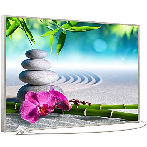 STEINFELD Bild Infrarotheizung mit Thermostat | Made in Germany | viele Motive 350-1200 Watt Rahmen silber (600W, 059 Zen-garten)