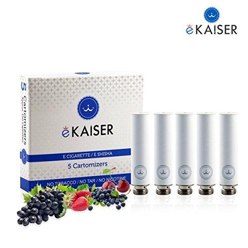 E-Zigarette, E-Liquid 5er Pack Weiß Cartomizer, Beeren-Mix, E-Shisha, für eKaiser Wiederaufladbar E-Shisha Zigarette (Erdbeere, Heidelbeere, Kirsche, Traube, Wassermelone)