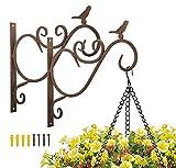 Lewondr Support Plante Mural Balcon, Lot de 2 Rétro Européen Forme d'Oiseau, Crochet de Suspension en Fer Forgé, pour lanternes à paniers avec Vis, Décor Extérieur pour Balcon de Jardin