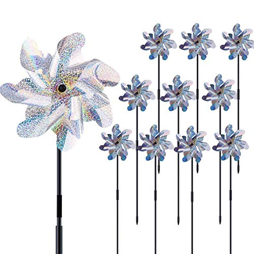 Ohuhu Reflective Pinwheels with Stakes, 10-Pack Extra Sparkly Pin Wheel for Garden Decor