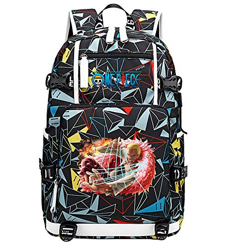 ZZGOO-LL One Piece Monkey·D·Luffy/Donquixote Doflamingo Joker Anime Backpack Middle Student School Rucksack Daypack for Women/Men with USB-G