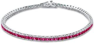 2.5MM Square Bezel Ruby Cubic Zirconia.925 Sterling Silver Tennis Bracelet 7.5