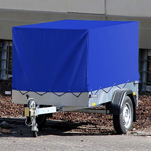 ECD Germany Anhängerplane Hochplane mit Gummigurt | 2075 x 1140 x 900 mm | für PKW Anhänger | Blau | wasserdicht | Schutzplane Abdeckplane Spannseil Gummizug