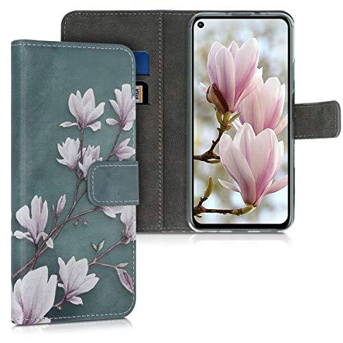 kwmobile Wallet Hülle kompatibel mit Huawei Nova 5T - Hülle Kunstleder mit Kartenfächern Stand Magnolien Taupe Weiß Blaugrau