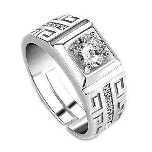 Hahat 1 Pc anello di barretta elegante diamante anello da uomo aperto di cristallo anelli gioielli da sposa per uomo ragazzi- (regolabile)