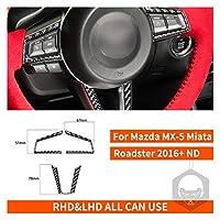 Mazda MX-5 Miata Roadsterステアリングホイールボタンスイッチカバーステッカー2016 + MX5 NDカーボンファイバーインテリアトリムカーアクセサリー (Color Name : Set)
