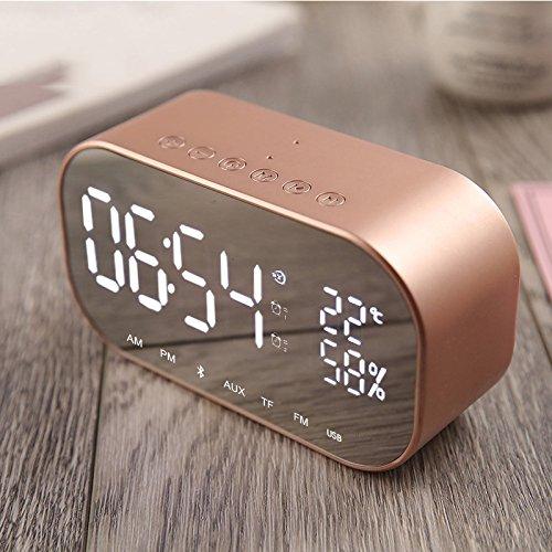 TTAototech Wecker mit Bluetooth-Lautsprecher, Multifunktions-Audio-Thermometer-Radio Freisprechfunktion Musik-MP3-Player, einstellbare LED-Spiegelleuchte Nachtwecker zu Hause/Schlafzimmer/Büro