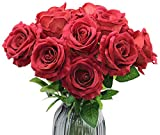 Olrla 12pcs Grande Rosas de Flor Artificial con el vástago, Faux Blooming Rose, DIY para el hogar de la Boda Fiesta de cumpleaños de la Pieza Central de la decoración (Rojo 12)