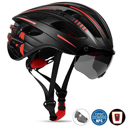 Shinmax Casco de Bicicleta Adult, Casco Bicicleta de Carretera, Casco de Ciclismo Parasol Desmontable y Las Gafas Desmontables. Luces traseras LED extraíbles.