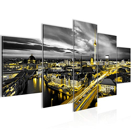 Bilder Stadt Berlin Wandbild 200 x 100 cm Vlies - Leinwand Bild XXL Format Wandbilder Wohnzimmer Wohnung Deko Kunstdrucke Gelb Schwarz 5 Teilig - MADE IN GERMANY - Fertig zum Aufhängen 004351a