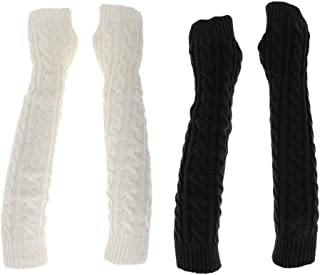 Abbraccia 2 Pairs Mittens Arm Warmer Protected Women Mens Fingerless Knitted Long Gloves