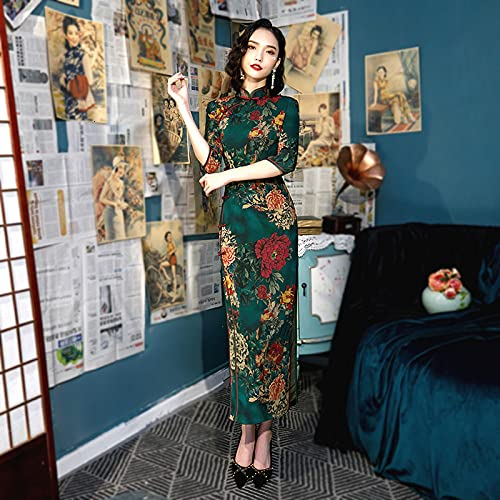 CIDCIJN Vestito Cinese - Plus Size Retro Verde Cinese Stile Qi Pao Manica Lunga Cheongsam Donne Tradizionale Cinese Orientale Abito Cinese Abiti Cinesi,M