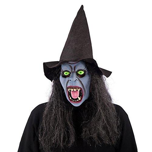 Máscara de bruja con sombrero, color violeta.