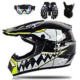 YXCXY-Hai Motocross Helm Motorradhelm Kinderhelm Cross Fullface-Helm Motorradhelm Schutzhelm Set Downhill MTB Quad BMX ATV Helm Geschenke (Schutzbrille, Maske, Handschuhe) (schwarz,S)