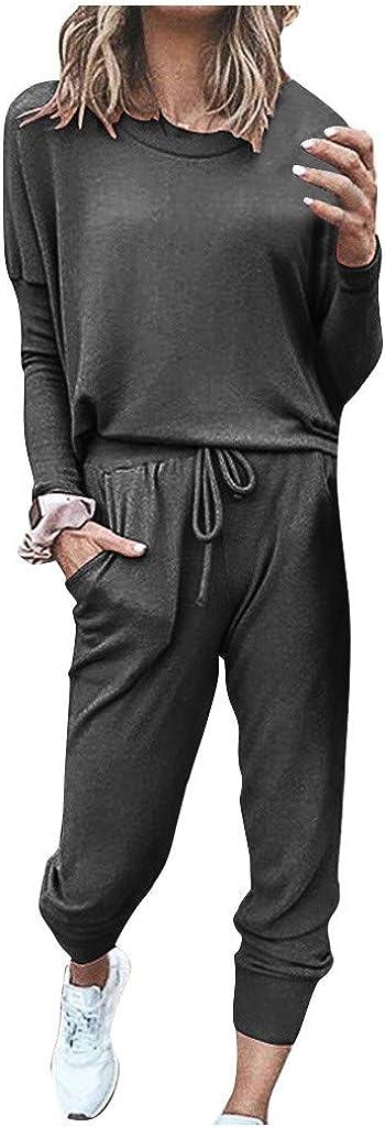 Lounge Sets for Women,Womens Long Sleeve Tops and Pants Long Pajamas Set Joggers PJ Sets Nightwear Loungewear