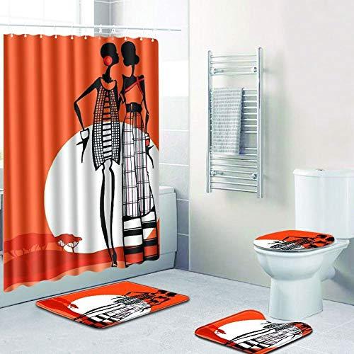 WANJIA Rutschfestes Badezimmer-Set, Duschvorhang + Badematte + U-förmige Badematte + WC-Abdeckung 4 Kombinationen+12 Haken für Duschvorhänge. 45 * 75cm W180508-D054