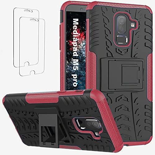 Ttianfa Funda para Huawei Mediapad M5 Pro Tipo Libro 【2】 Cristal Templado Protector Pantalla Doble Capa a Prueba de Choques Soporte Plegable Kickstand 360° Rugged Protector Antideslizante Funda,Rojo